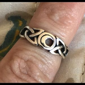 Celtic moon sterling silver ring